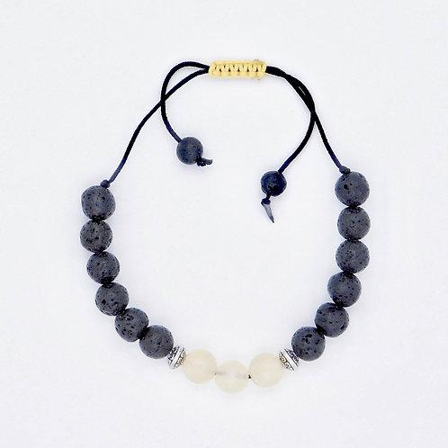 Genuine Yellow Calcite and Lava Bead Handmade Aromatherapy Bracelet