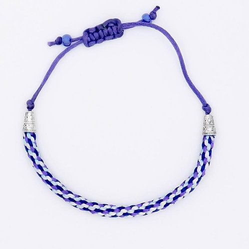 Sea Inspired Jewelry Handmade Blue Aqua White Violet 8-cord Braided Bracelet