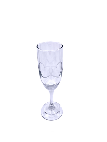 Custom deep etched entwined heart champagne glass.