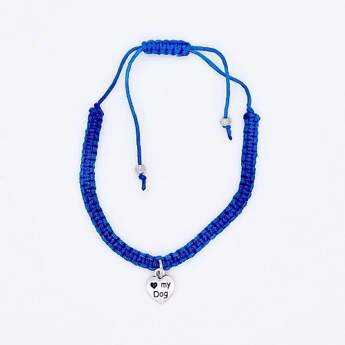 Handmade Royal Blue I Love My Dog Braided Adjustable Bracelet
