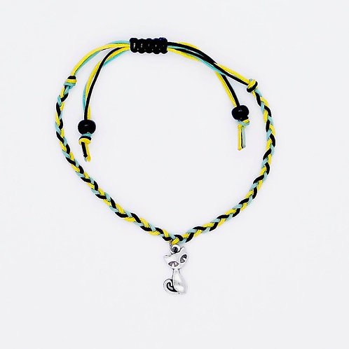 Handmade Black, Turquoise, and Yellow Braided Bracelet with Cat Charm