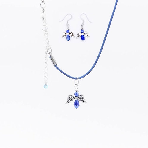 Handmade Blue Angel Earring and Necklace Set