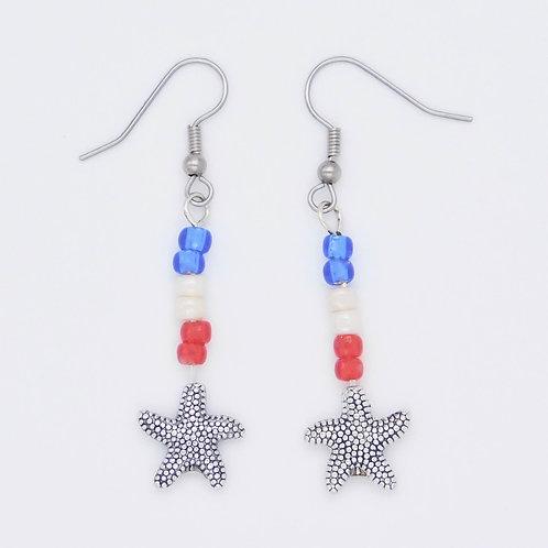 Handmade Sea Inspired Red, White, and Blue Starfish Earrings