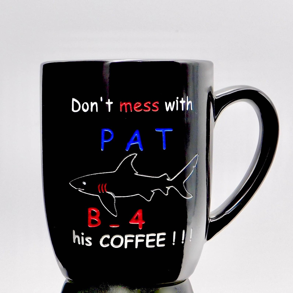 Personalized deep etched shark black coffee mug with color fill.