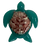 Handmade Beach Themed Green-Purple Sea Turtle Magnet with Genuine Scallop Shell