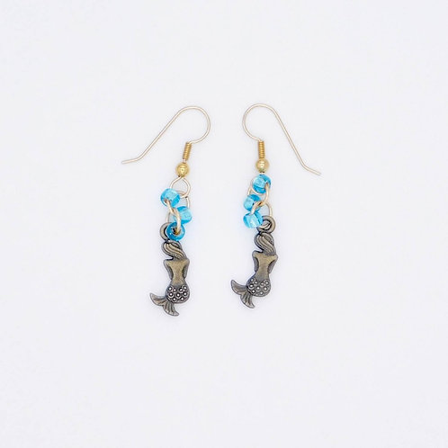 Handmade sea inspired bronze colored mermaid and blue glass bead earrings