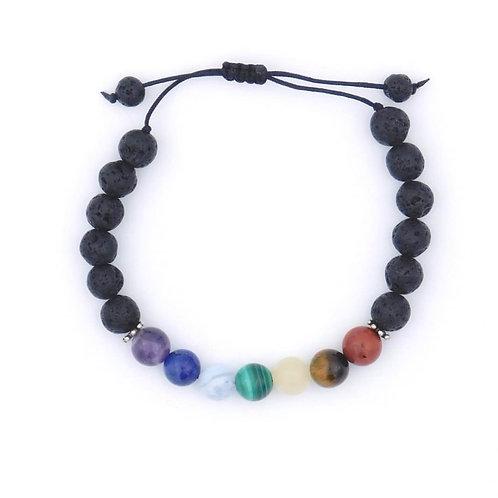 7 Chakra Genuine Semiprecious Gemstone Handmade Aromatherapy Bracelet