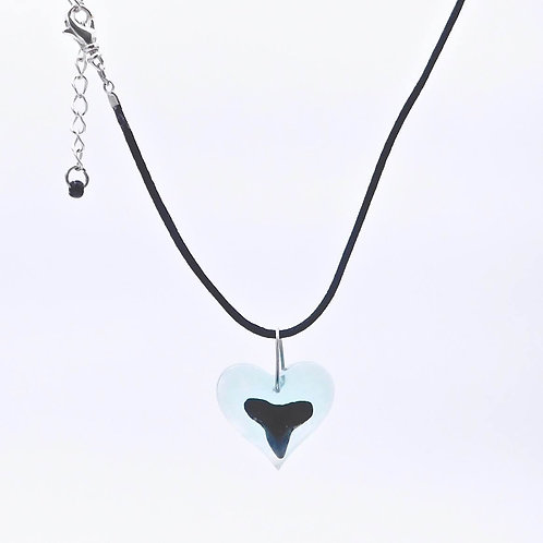 Handmade sea inspired genuine shark tooth and aqua resin heart necklace.
