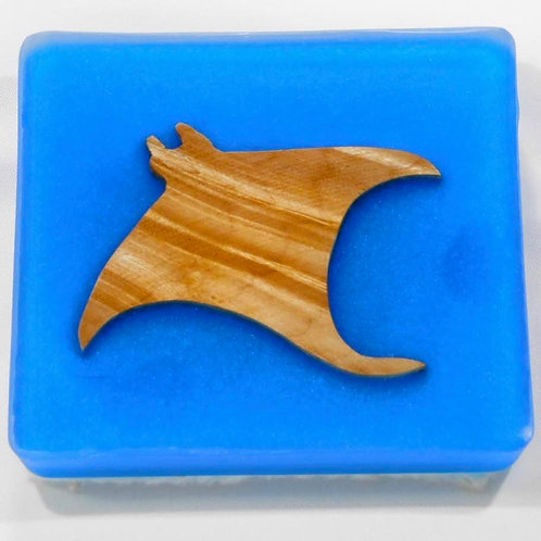 Sea Inspired Handmade Manta Ray Wood and Resin Square Coaster