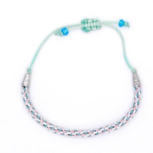 Sea Inspired Jewelry Handmade Aqua Peach Poseidon White 8-cord Braided Bracelet
