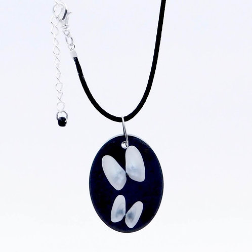 Handmade Sea Inspired Jewelry Genuine White Butterfly Shells Embedded in Black Resin Necklace