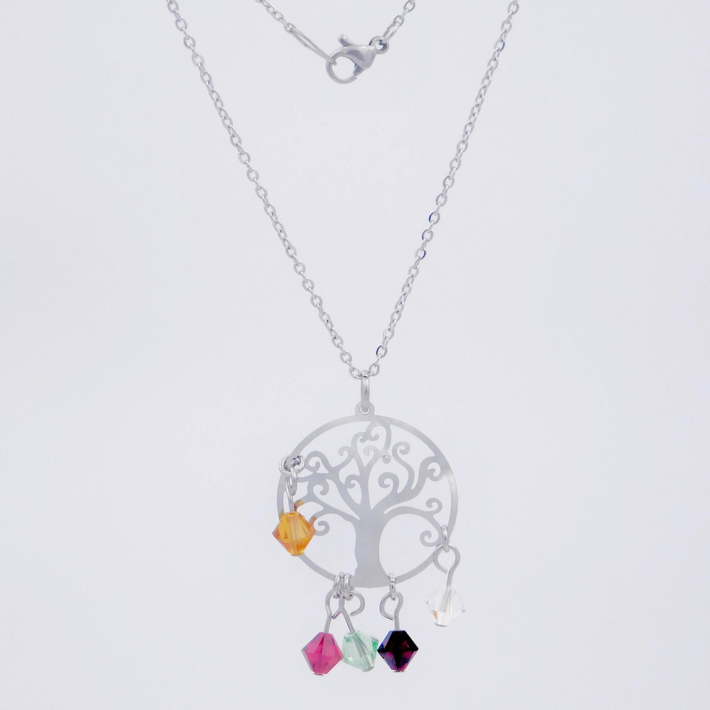 Handmade stainless steel family tree with crystal birthstones.