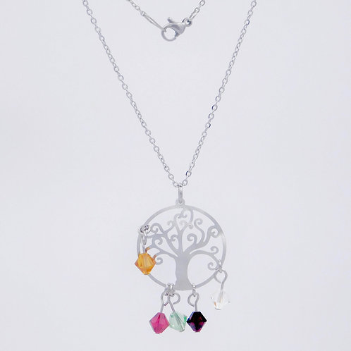 Stainless Steel Family Tree Necklace Embellished with Swarovski Crystal Birthstones