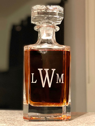 Monogrammed deep-etched whiskey decanter