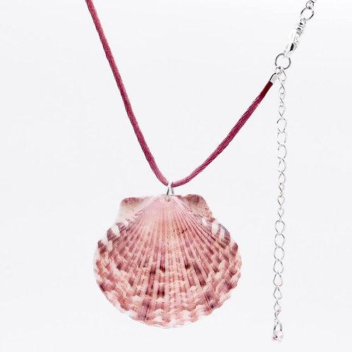 Sea Inspired Jewelry Genuine Burgundy Hued Scallop Shell Handmade Necklace