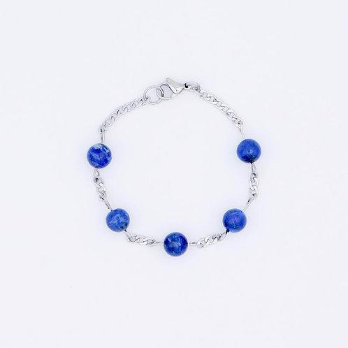 "Handmade ""classic blue"" lapis lazuli flat chain bracelet."
