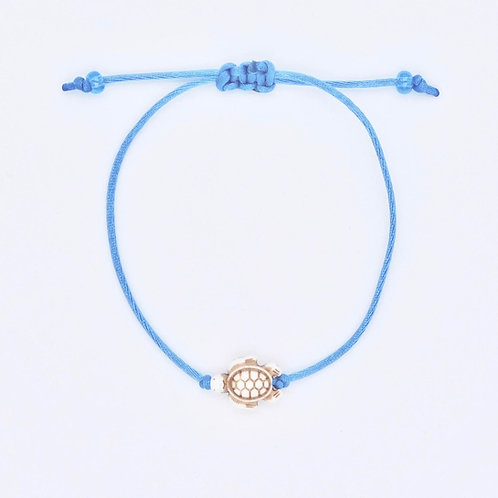 Handmade Sea Inspired Jewelry Reconstituted White Stone Sea Turtle on Denim Nylon Cord Bracelet/Anklet