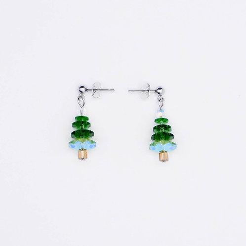 Handmade green christmas tree earrings for the holidays.