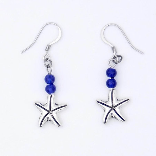 Handmade Sea Inspired Jewelry Silver-Plated Starfish with Blue Beads Earrings