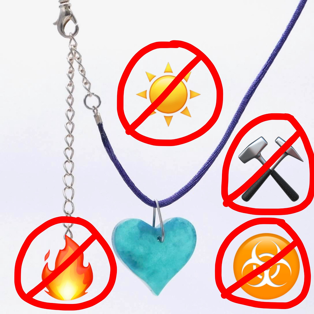 Avoid UV, heat, chemicals, and sharp objects to extend the life of your resin jewelry.