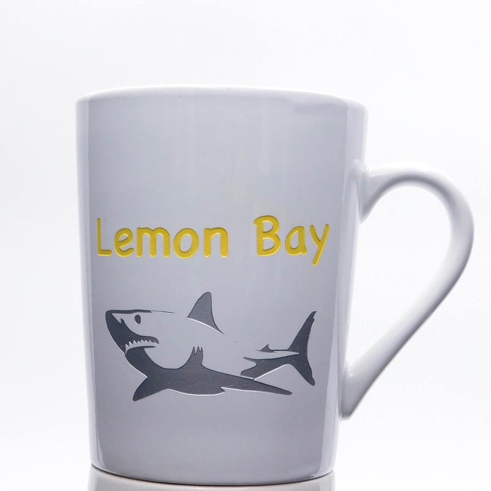Custom etched mug with shark in the Pantone color of the year 2021.