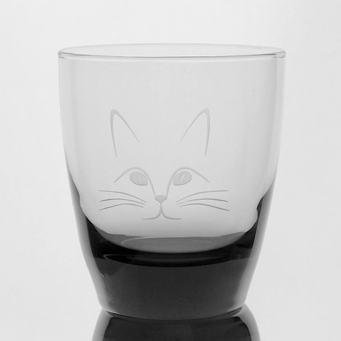 Custom deep etched cat on smokey glass tumbler.