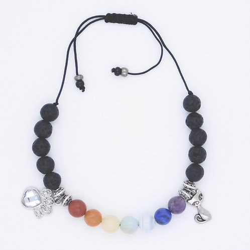 Genuine Semiprecious Gemstone Handmade Rainbow Bracelet with Cat Charm
