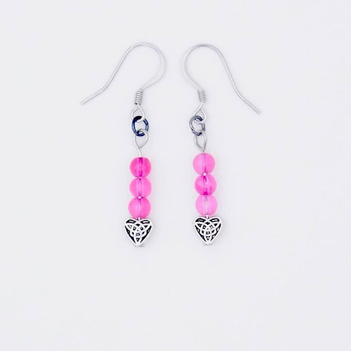 Handmade Pink Glass Bead and Antique Silver-Plated Heart Earrings