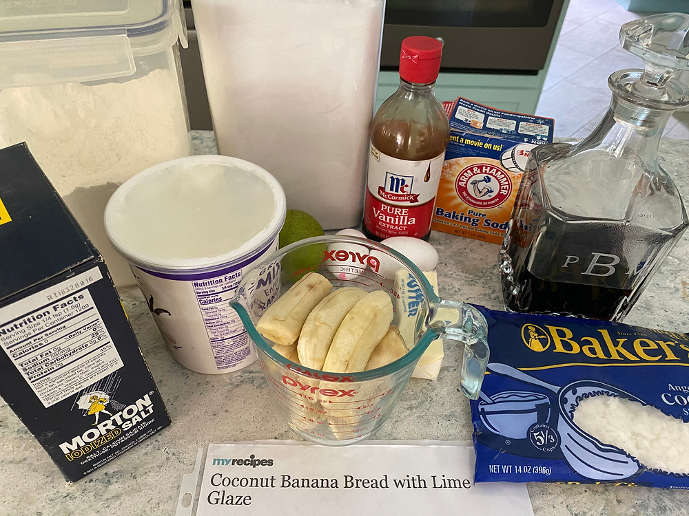 Ingredients for Coconut Banana Bread with Lime Glaze