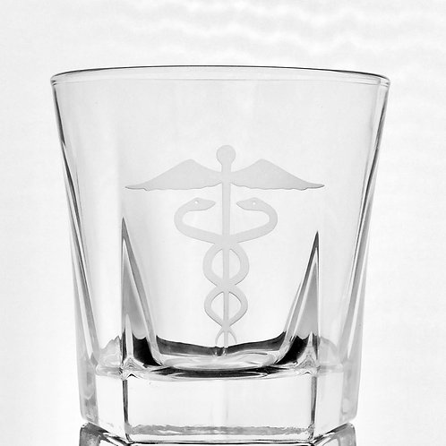 Custom deep etched caduceus whiskey or bourbon glass