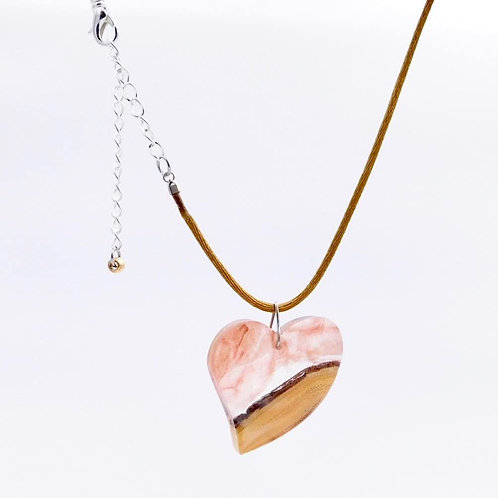 Handmade Wood and Resin Heart Necklace