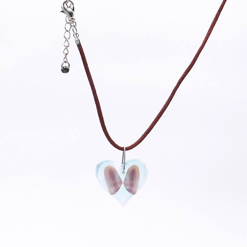 Handmade Sea Inspired Jewelry Genuine Butterfly Shell Embedded in Resin Heart Necklace