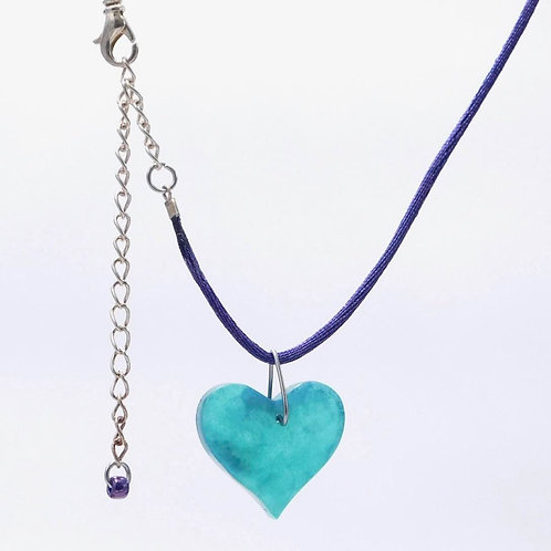 Handmade Green-Purple Resin Heart Necklace