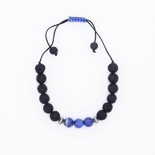 Genuine Lapis Lazuli and Lava Bead Handmade Aromatherapy Bracelet