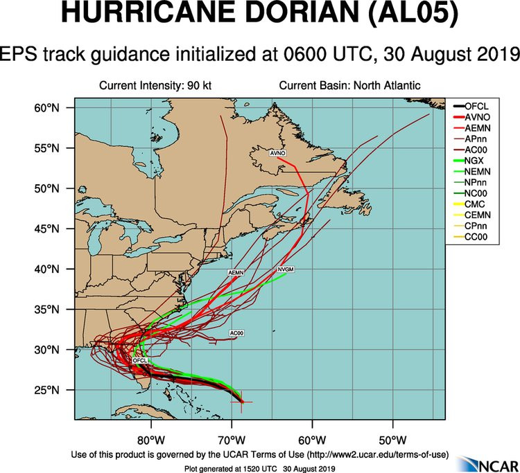 spaghetti model of hurricane dorian