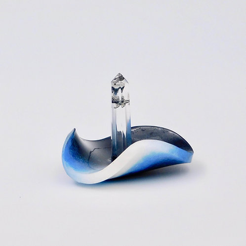 Handmade free-form blue and white resin and silver-plated mermaid ring holder.