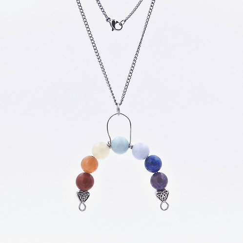 Handmade Genuine Semiprecious Gemstone Rainbow Bridge Necklace with Antique Silver-Plated Heart Charms