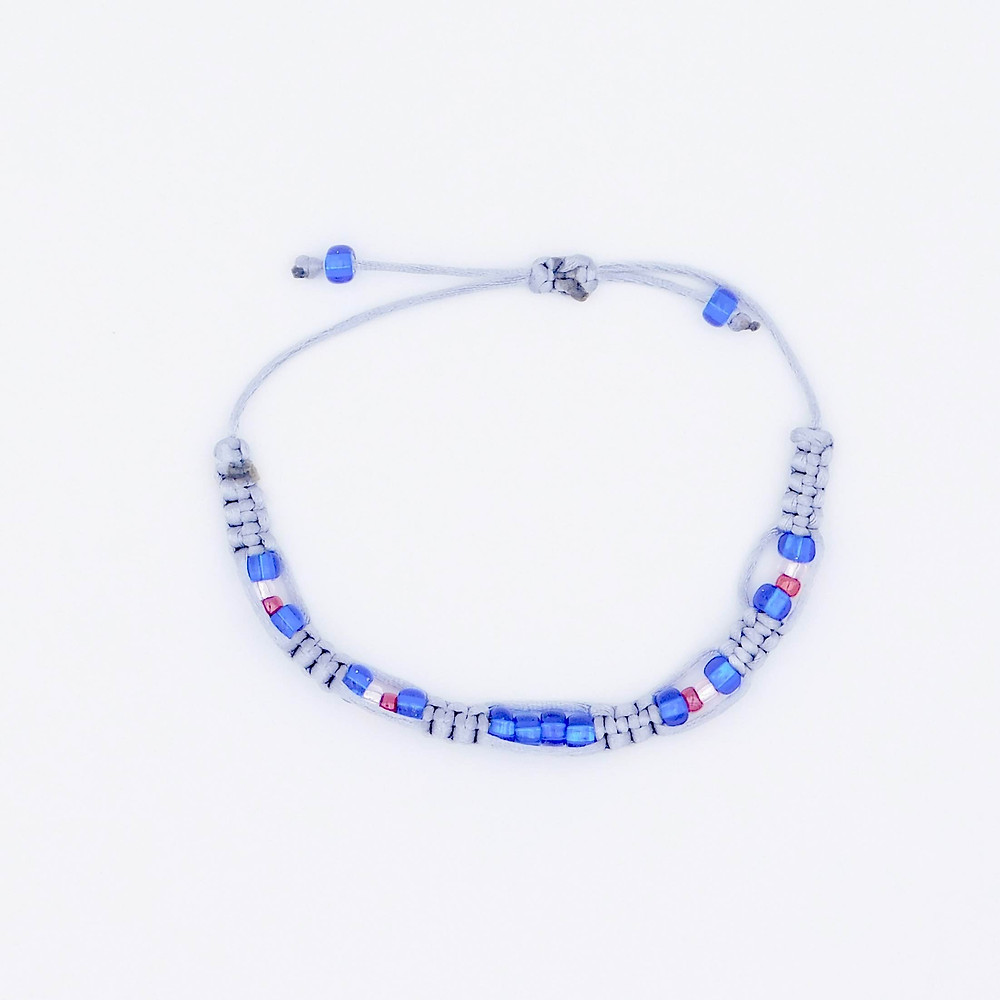 Handmade twilight at the beach inspired classic blue, silver, rose, and pink bead adjustble bracelet.