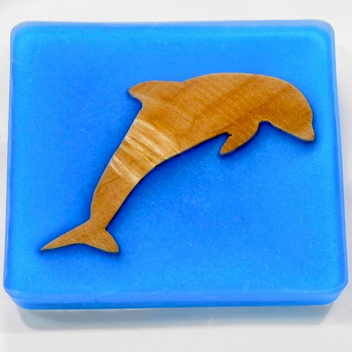 Sea Inspired Handmade Dolphin Wood and Resin Square Coaster