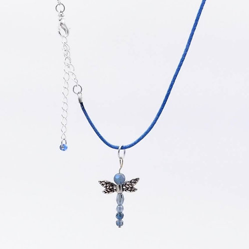 Handmade Blue Glass Beaded Dragonfly Necklace