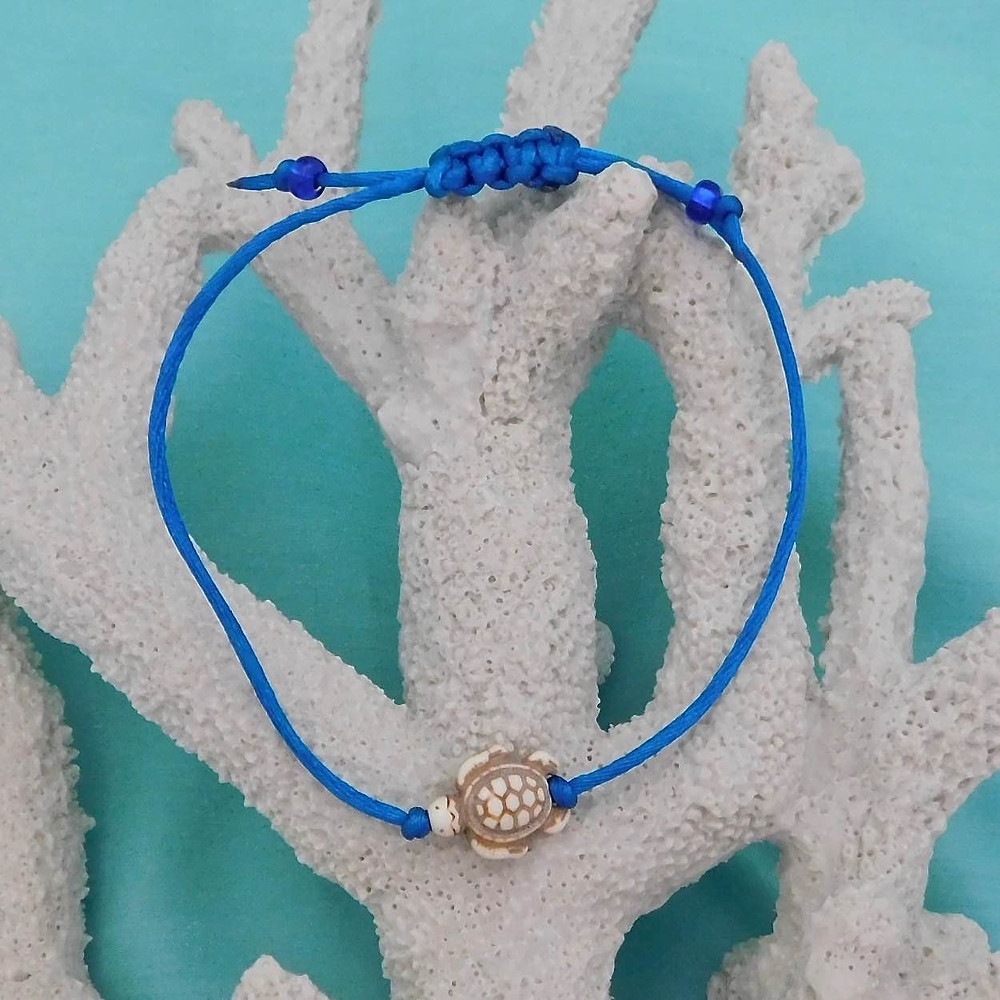 White-reconstituted-stone-sea-turtle-bracelet-anklet