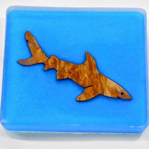 Sea Inspired Handmade Shark Wood and Resin Square Coaster