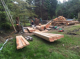 Mobile sawmill at work