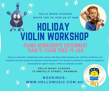 Holiday Violin Workshop for beginners
