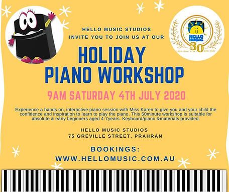 Holiday Piano Workshop for Beginners