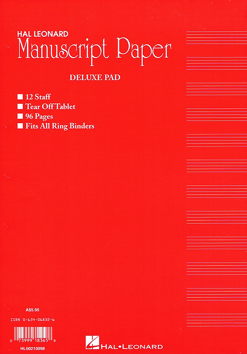 AMEB Manuscript Pad - 75 pages of standard manuscript paper