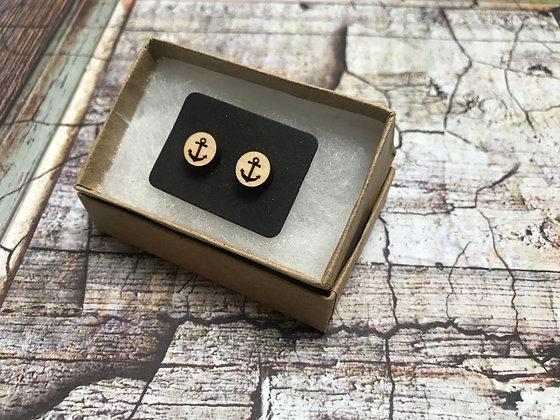 Wooden Earrings Anchors