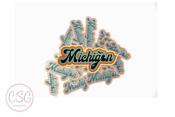 70s Michigan Word Sticker