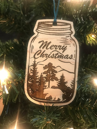 Mason Jar Wooden Ornament