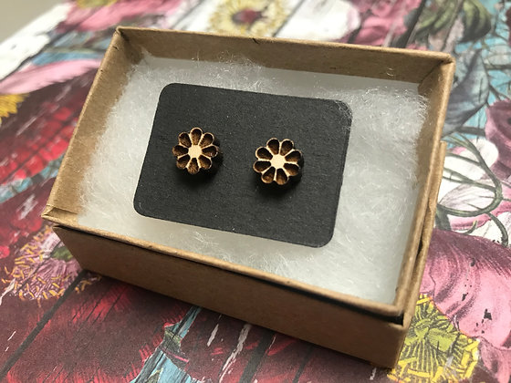 Wooden Daisy Flowers Earrings